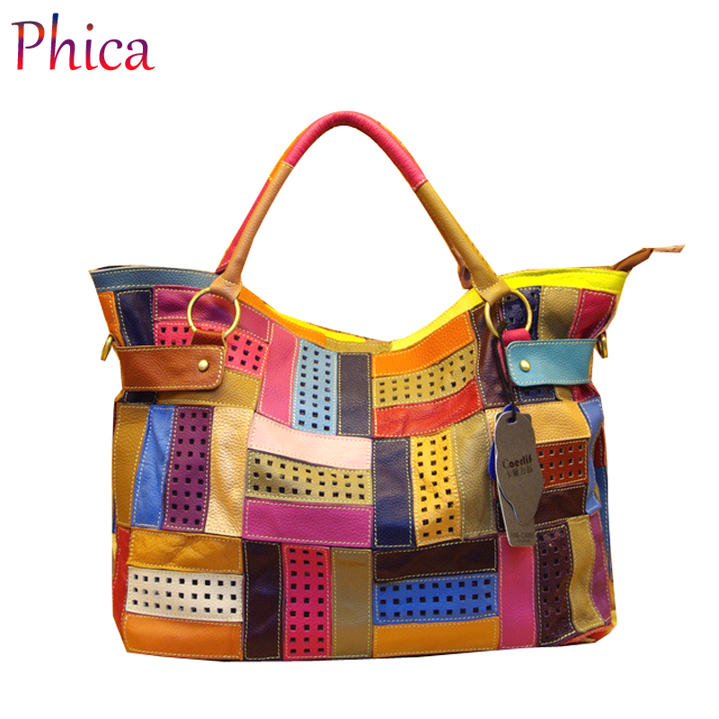 New 2016 Fashion Tote Free Shipping 100% Genuine Natural Leather Patchwork Handbags Women Messenger Bag Purse Colorful(China (Mainland))