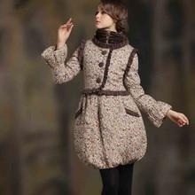 Women's Winter Vintage Bohemian Original Design Herpen Fashion Sweet Stand Collar Mandarin Sleeve Slim Princess Dress WQ0021