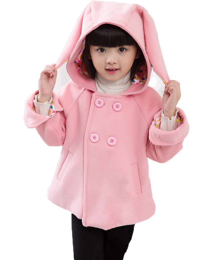 Buenos Ninos 2015 Korean Baby Girl Lovely Ears Hooded Woolen Coat Pink Yellow  Children Double-breasted thick Wool Coat<br><br>Aliexpress