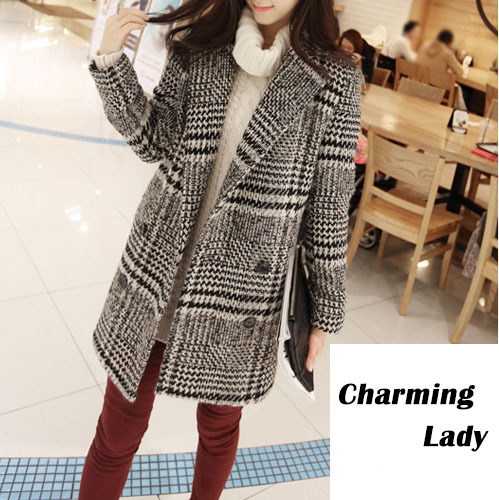 2015 Cotton Wool Plaid Trench Coat for Women Coats Plush Double Ladies Breasted Long Windbreaker Female Grey S - XL WZWTDY001(China (Mainland))