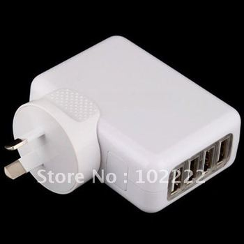 4 USB Ports Wall Charger with AU Plug for iPad iPhone 2G 3G 3GS 4G 4S iPod Touch 4G, Samsung i9100 i9300, Sample, Free Shipping