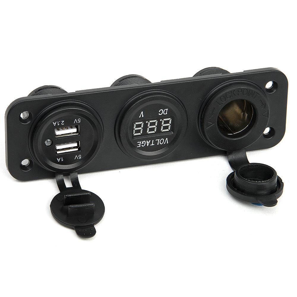 DC 12V Dual USB Socket Splitter Motor Car DC Digital Voltmeter 3 Hole Power Plug Socket USB Car Electronics Cigarette Lighter(China (Mainland))