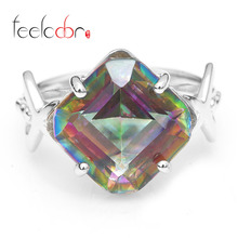 Fashion 9ct High Quality Rainbow Fire Mystic Topaz Square Concave Cut Solid 925 Sterling Silver Ring Vintage Jewelry For Women(China (Mainland))