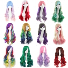 Promotion long wavy ombre color ladies synthetic hair wig,green rainbow color japanese kanekalon fibre anime cosplay wig peruca(China (Mainland))