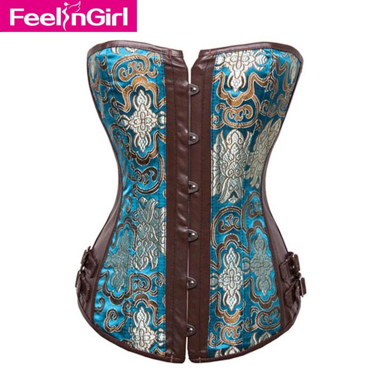 2016 Steampunk Corset top, Women Gothic Steel Boned Corsets Overbust Bustier,lace-up Brocade Buckle front Corselet 4167-5 - FeelinGirl International Co.,Ltd. store