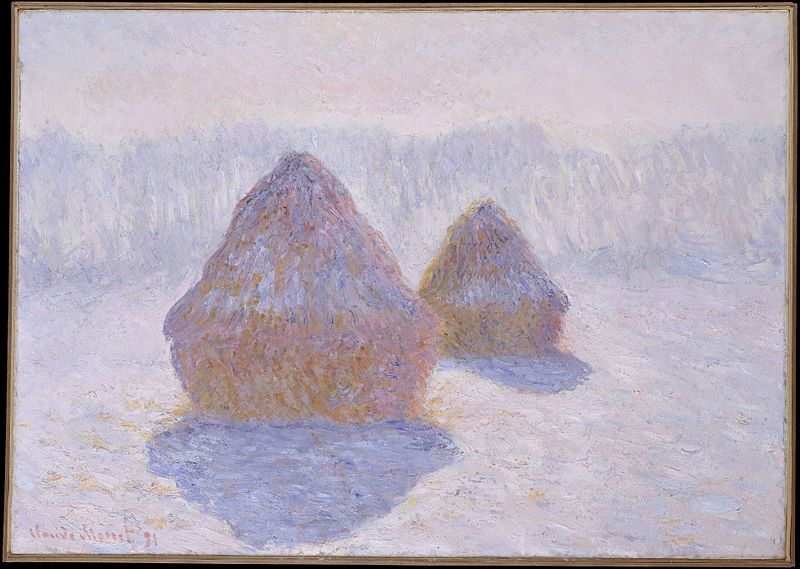 Canvas Art Prints Stretched Framed Giclee Oil Painting Claude Monet French Paris 1840-1926 Giverny Haystacks Effect Of Snow Sun(China (Mainland))
