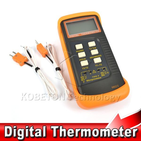 2015 Dual Two Channel 2 K-Type Digital Thermometer meter Thermocouple Sensor 1300 C 2372 F temperature gauge with 2 Test prober(China (Mainland))