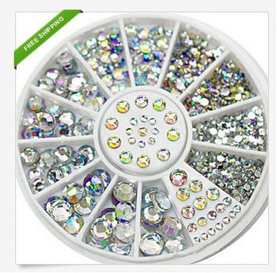 5 Sizes 400 Pcs Nail Art Tips Crystal Glitter Rhinestone 3D Nail Art Decoration+Wheel nail supplies decoracao jewelry glitter(China (Mainland))