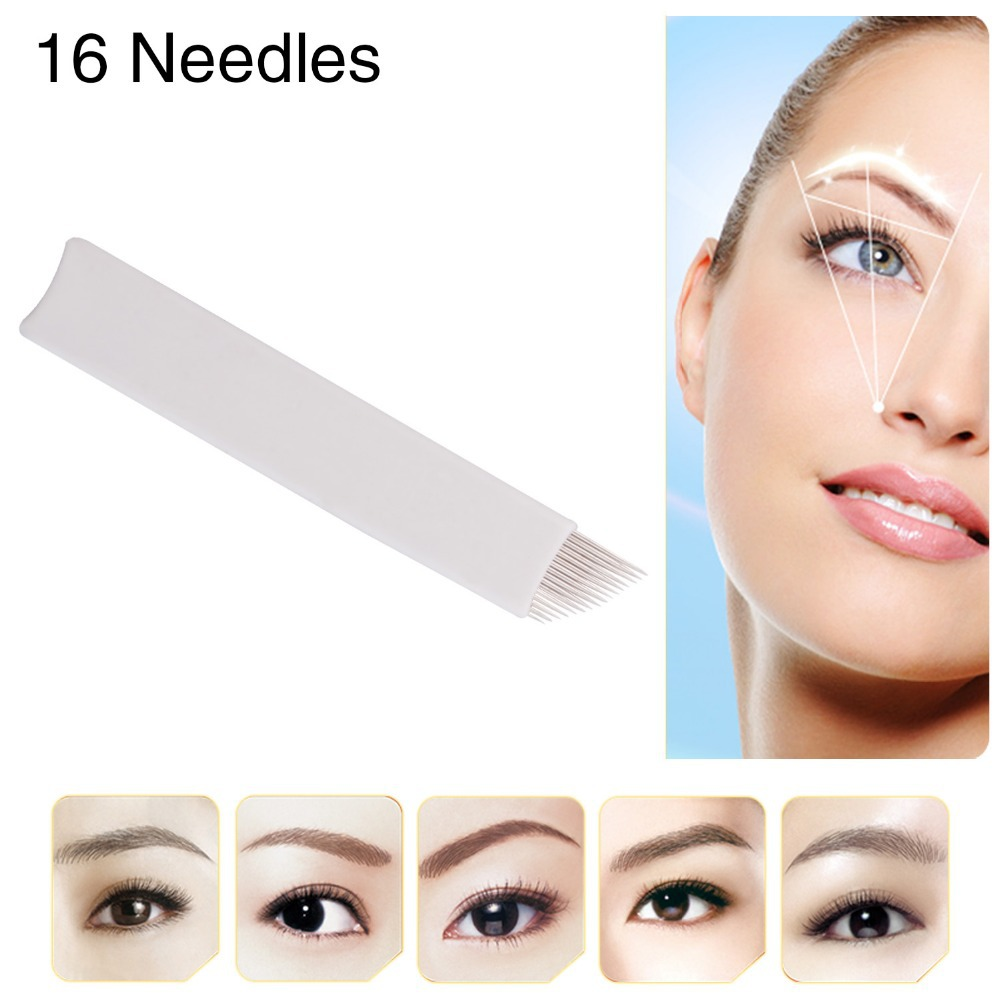 Famous Brand CHUSE S16 Microblading Stainless Steel Permanent Makeup Needles Eyebrow Tattoo Blade 16 Pins 5  -  Value in Fashion store