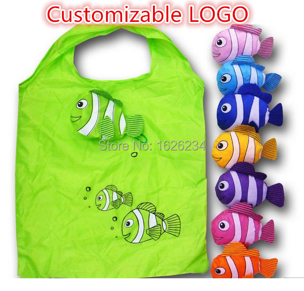 Tropical fish cute reusable plastic bags, Eco friendly Shopping bag , cartoon polyester bags folding handle - Hyun point store