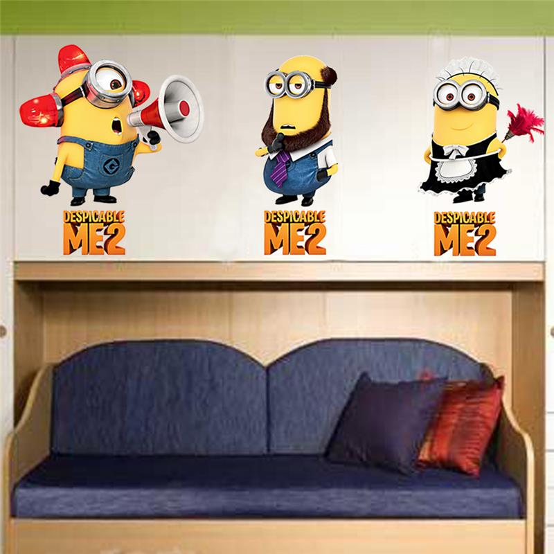 cute despicable me 2 minions wall stickers pvc kids room living room bedroom  decorative wall