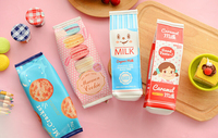 1X Cute Kawaii Milk Macaron Cookie Pencil Case Pen Bag Cosmetic Makeup Bag Stationery Student Gift Rewarding