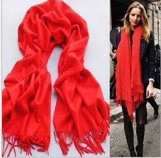 A037 Winter festival red Long Large Warm Soft Wrap Women Scarf Shawl Tassels(China (Mainland))
