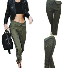 Abocid Women Fashion Army Green Irregular Waist Head Personality Pulling Rope Seven Points Casual Pants