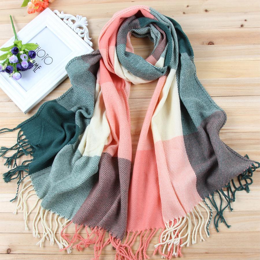 78' Vintage Tassel Plaid Wool Scarf Classic Long Large Soft Pashmina Korea Women Winter Warm Wrap Stole Clothing Jewelry Scarves(China (Mainland))