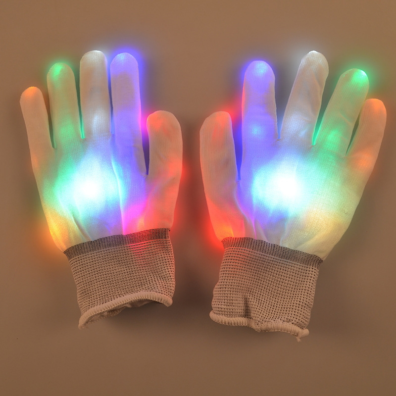 Men Women Nylon Led Rave Light Finger Glow Mitt Night Club Lighting Flashing Gloves Party Supplies(China (Mainland))
