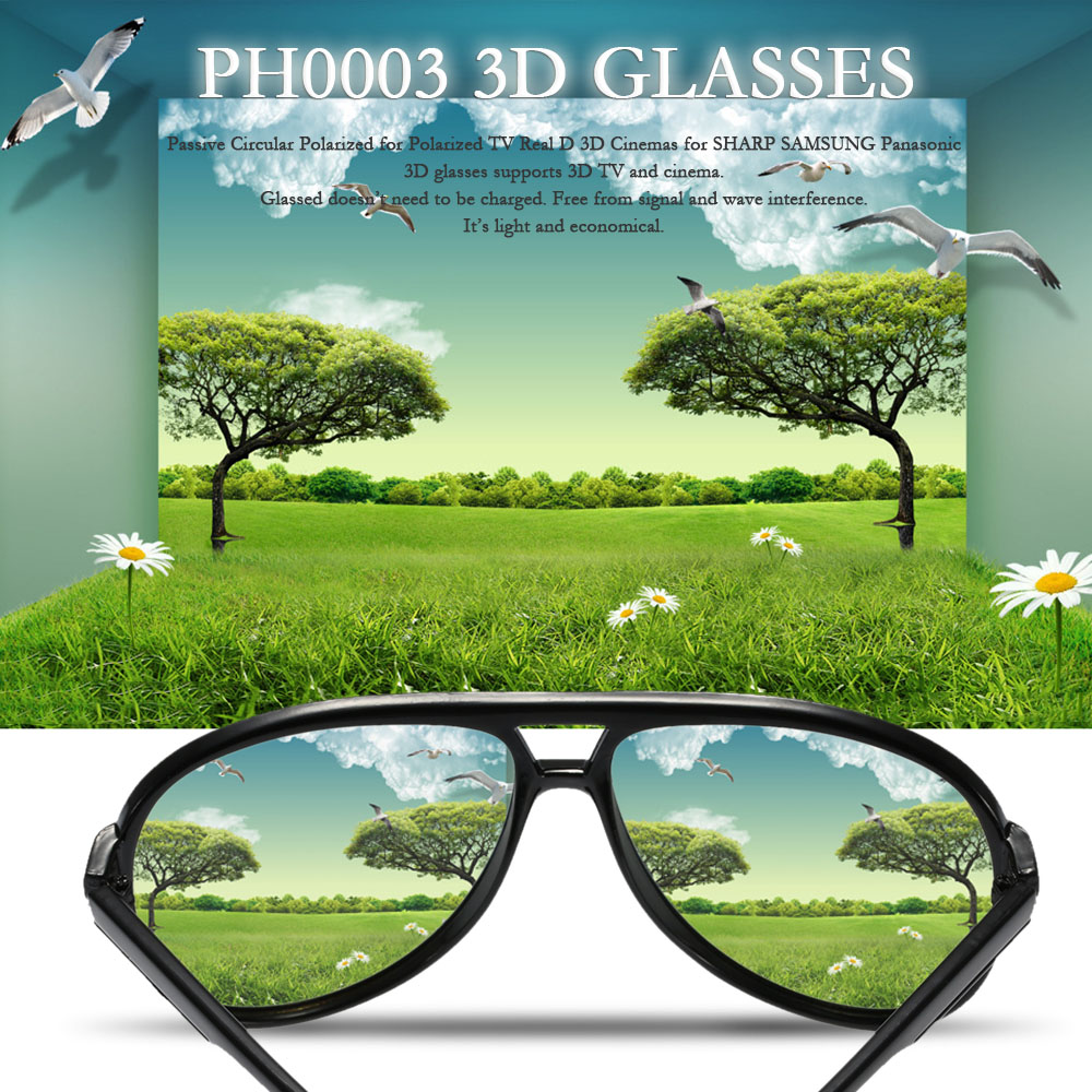 PH0003 3D Glasses Passive Circular Polarized for Polarized TV Real D 3D Cinemas for SHARP SAMSUNG Panasonic(China (Mainland))