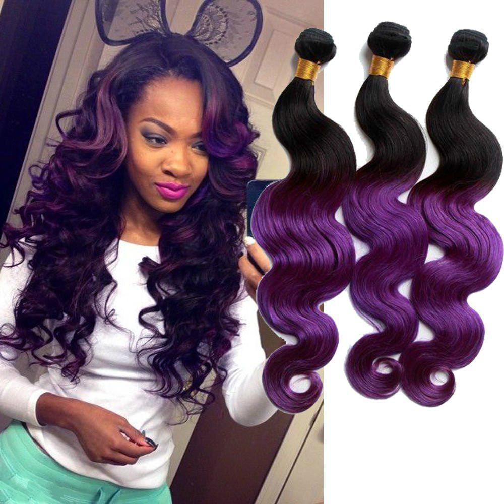 Purple Ombre Malaysian Hair Extension Cheap 3 Bundles Hu