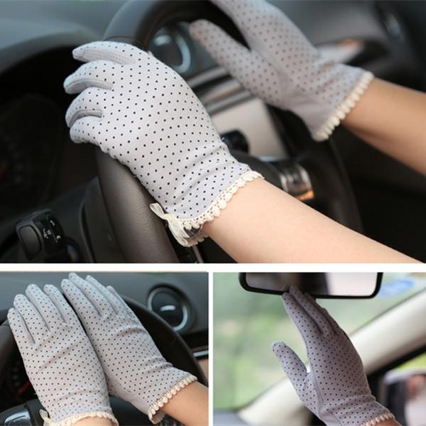 1Pair Hot Sales Women Cotton Slip-resistant Thin Short Driving Gloves,Dot Print Female Sun Protection Glove(China (Mainland))