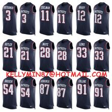 Stitiched,New England Patriots,Tom Brady,Rob Gronkowski,Julian Edelman,Jamie Collins,Danny Amendola,Limited Tank Top(China (Mainland))