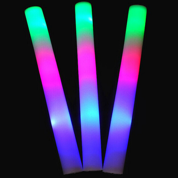 10pcs/lot Flash toy multi color flash light toy led foam stick led foam baton glow stick for wedding party concert props(China (Mainland))