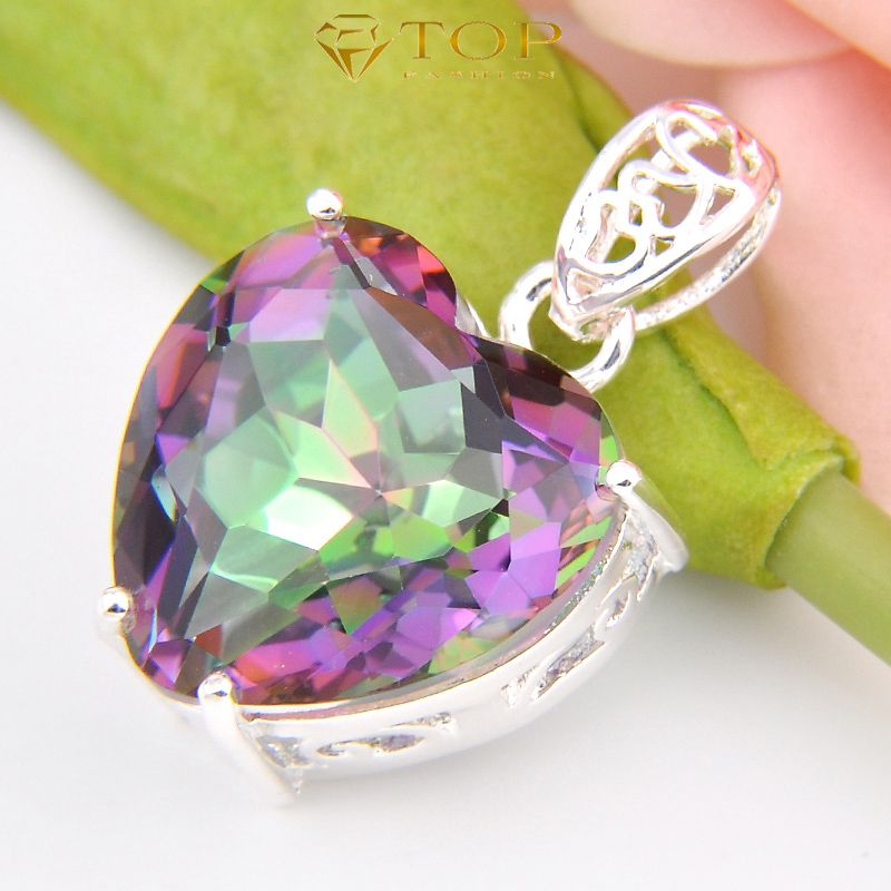 Free Shipping - Promotions 925 Silver Heart Shaped Pendant Rainbow Mystic Topaz Pendant Best Gift P0904<br><br>Aliexpress