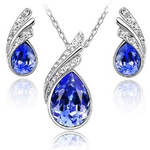 Fashion Austria Crystal Water drop leaves Earrings necklace jewelry sets Classic Wedding Dress Jewelry Set(China (Mainland))