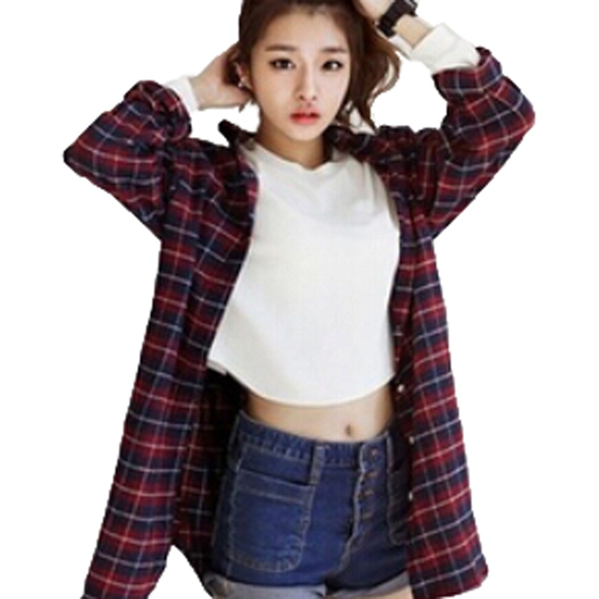 2016 new zanzea spring autumn women classic boyfriend red Womens red plaid shirts blouses