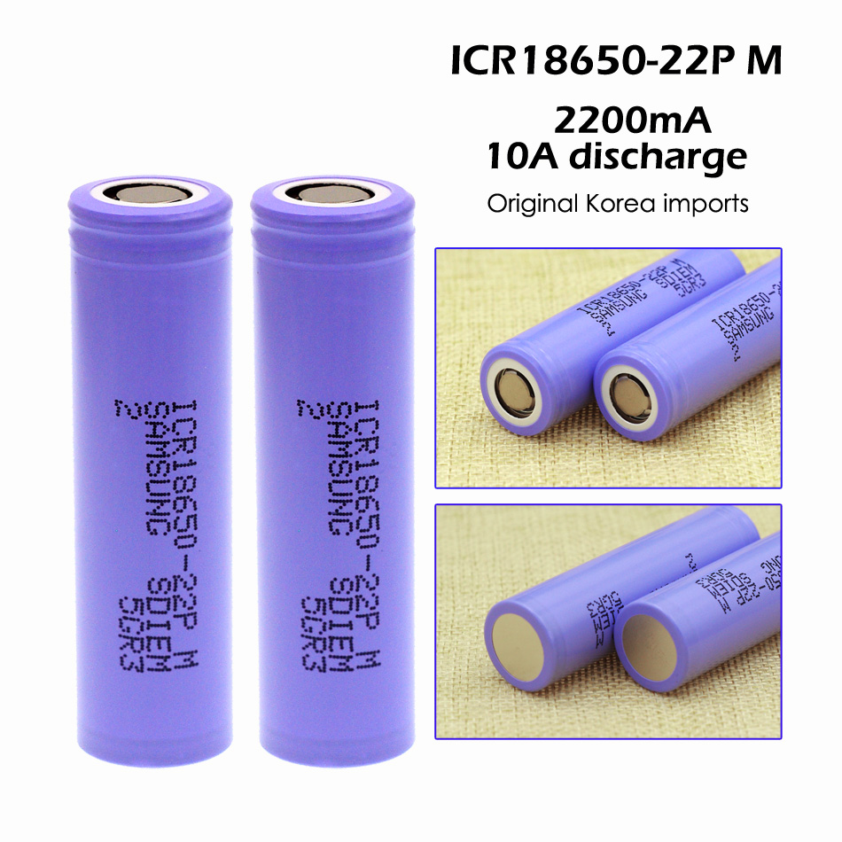 2PCS Original for Samsung ICR18650-22P M 18650 battery 2200mAh, 5C power battery dedicated(China (Mainland))