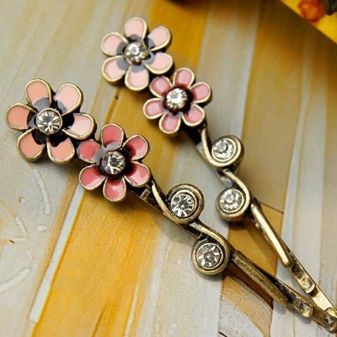 2pcs Free Shipping Vintage Flower Metal Hair Pins and Clips Wholesale Fashion Hair Accessories(China (Mainland))