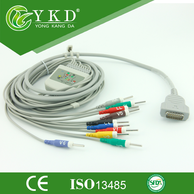 10/12 lead ecg/ekg cable for GE-Marqutte,Din 3.0,AHA,chinese supplier.<br><br>Aliexpress