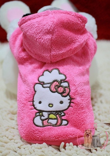 5pc/lot Hello kitty Pet dog clothes cute winter rose coat hoody jumper clothing for dogs mascotas roupa para cachorro XS-XL(China (Mainland))