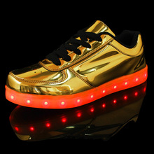 7colors Fashion Casual Unisex USB LED PU Leather Surface Gold Silver Rechargeable Light Up Flat Shoes for Adults Chaussure Femme(China (Mainland))