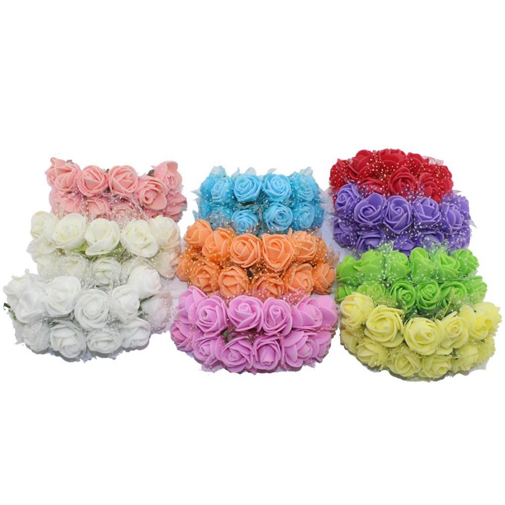 Бесплатная доставка 2 см глава многоцветный пенополиэтилен мини-цветок букет с органзы сплошной цвет искусственного розовыми цветами ( 140 шт./лот )