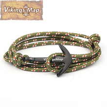 Buy Vikings Map2016 New Fashion Hook Bracelets Men woman Charm Survival Rope Chain Sport Paracord Lovers Bracelet Black Anchor for $1.13 in AliExpress store