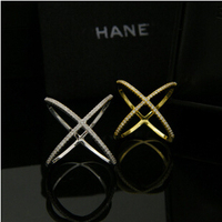 Guaranteed 100% 925 Sterling Silver rhinstone Brand silver engagement wedding gold plated male thumb lock rings sets  R417