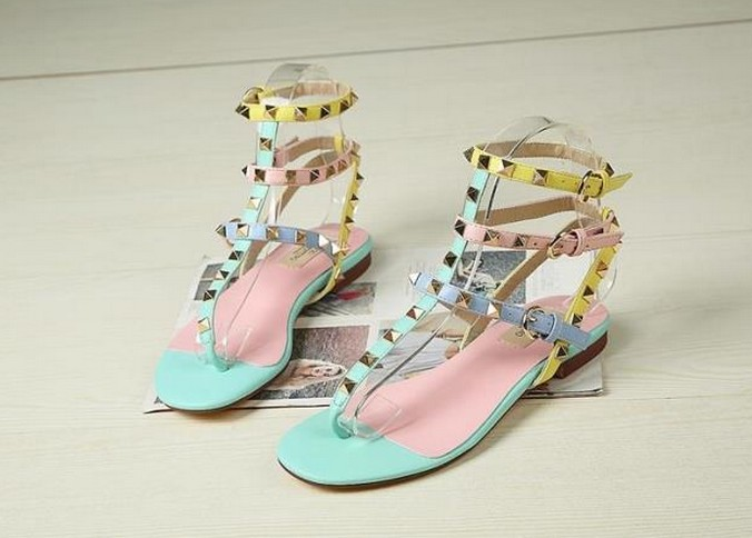 fashionville* u340 34/40 genuine leather macaroon rock stud sandals<br><br>Aliexpress