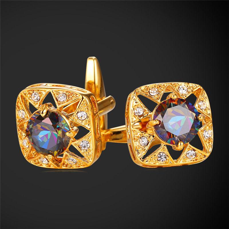 Classic Crystal Cufflinks For Mens With Rhinestone 18K Gold/Platinum Plated Cuff links Men Jewelry Cufflinks High Quality IC2002(China (Mainland))