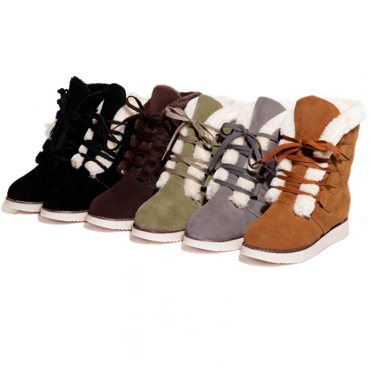 Гаджет  Christmas Winter Warm Womens Boots Lace up Round toe Hidden Wedge Platform Ankle Boots shoes Faux suede None Обувь