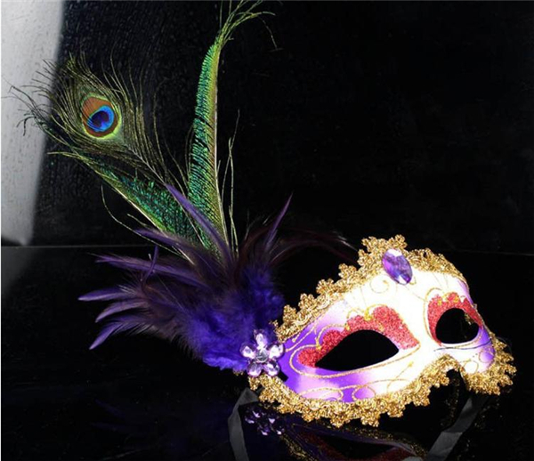 Hot Sale Peacock Feather Mask Masquerade Costume Party Mardi Gras(China (Mainland))