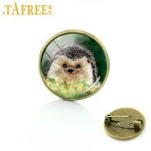 Tafree Landak Dalam Kabut Bros untuk Buatan Tangan Fashion Pin Bulat Kaca Bros untuk Wanita Hewan Gaya Perhiasan Logam H222(China)