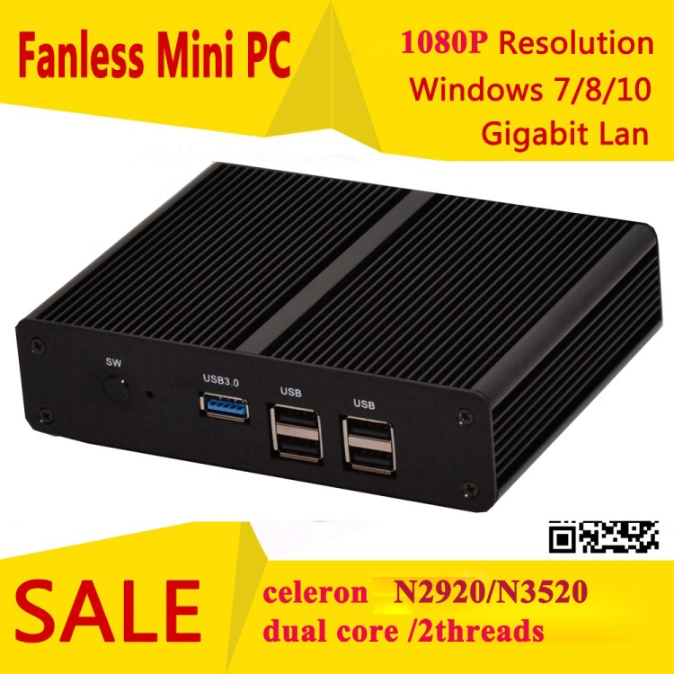 hystou small form fanless mini pc Linux Intel celeron N2920 N3520 low power quad core mini stick computer support Windows7(China (Mainland))