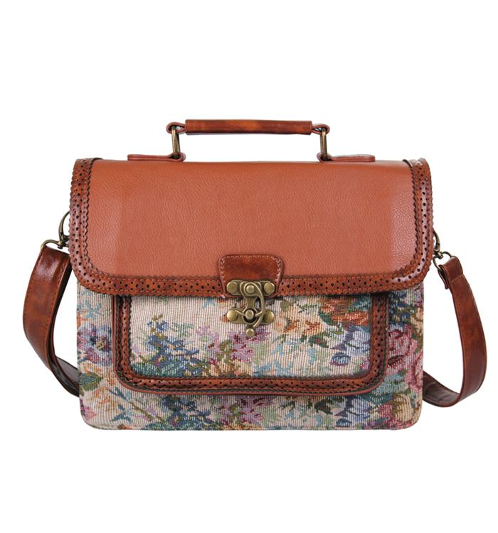 Leather Briefcase Business Bag 2015 New Women Floral Handbag Leather Bag Document Tote Bag Fashion Shoulder Bag<br><br>Aliexpress