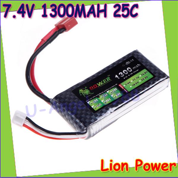 HK Free shipping Lion Power Lipo Lithium-Polymer 7.4V 1300mAh 25C 2S  Battery LiPoli 2S1P Akku Batterie<br><br>Aliexpress