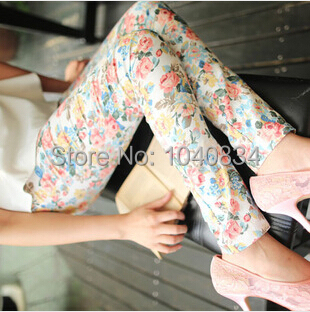 New arrival K210 spring autumn pants women lolita style 4 colors floral printed ankle length stretch wholesale and retail(China (Mainland))