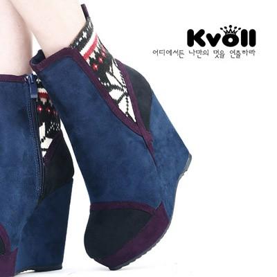 Love foot winter boots unique vintage wedges platform short-leg boots black(China (Mainland))