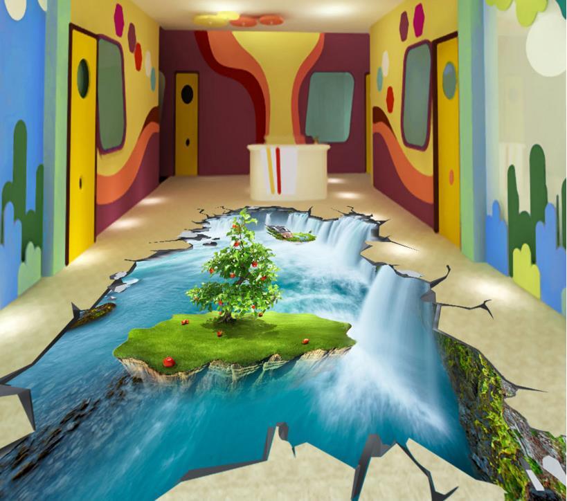 3d floor tiles kitchen Self-adhesive Waterproof 3d wall murals wallpaper custom Flying Island Falls pvc vinyl flooring(China (Mainland))