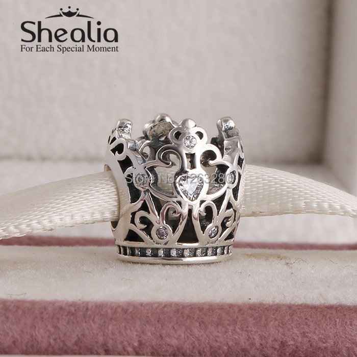 Spring 2015 new openwork princess crown charms with clear cz 925 sterling silver jewelry for famous brand diy bracelets SH0642<br><br>Aliexpress