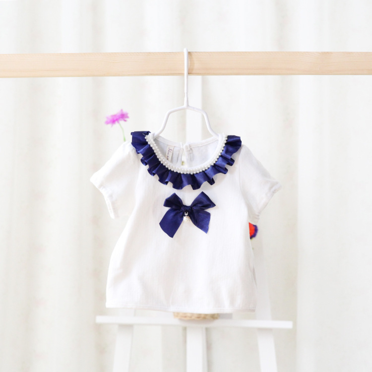2015 New summer baby girls princess t shirts tees children cute tops bow beads 3 colors 5 pcs/lot wholesale 2475<br><br>Aliexpress