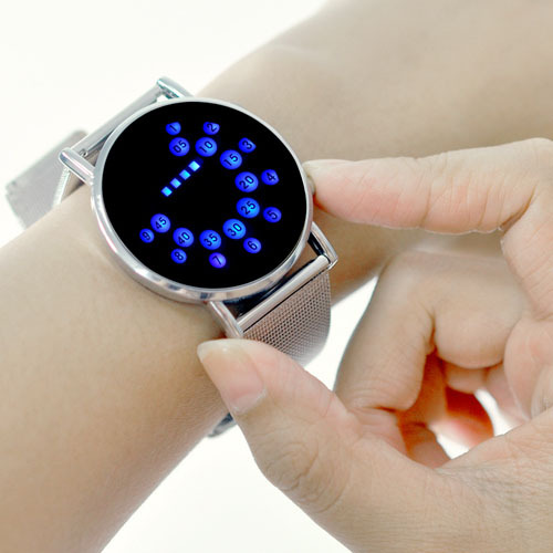 Innovative Japanese Stylish Digital Display Mirror blue LED Watches for women or men free shipping(China (Mainland))